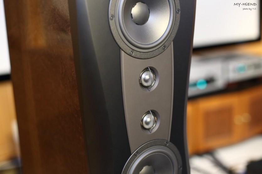 在高音的上方及下方是兩個15cmm中音單體,再往外圍設置20cm低音單體,中低音單體皆採用MSP音盆和純鋁音圈。
